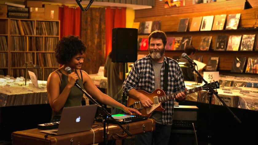 Nick Offerman and Kiersey Clemons as Frank and Sam Fisher in 2018's Hearts Beat Loud