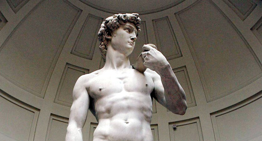 """Michelangelo's """"David"""" is seen at the dome of Florence's Galleria dell'Accademia."""