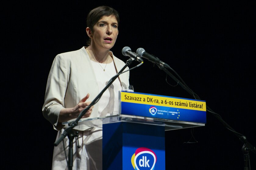 FILE - In this Wednesday, May 22, 2019 file photo, top candidate for the upcoming European Parliament elections Klara Dobrev of Democratic Coalition (DK) party speaks during the party's campaign event in Tatabanya, Hungary. Opposition voters in Hungary are choosing between two opposition politicians hoping to unseat right-wing populist Prime Minister Viktor Orban in an election next spring. The two contenders, center-left lawyer Klara Dobrev and moderate conservative mayor Peter Marki-Zay, have differing platforms but are both members of an opposition coalition opposing Orban's rule. (Boglarka Bodnar/MTI via AP, File)