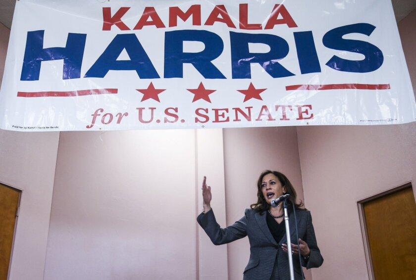 California Atty. Gen. Kamala Harris speaks during a Senate campaign event in Los Angeles on Jan. 10.