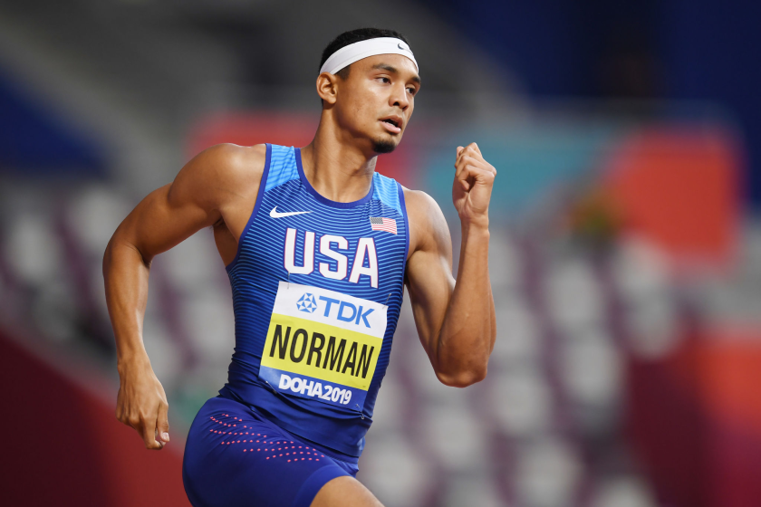 Michael Norman competes in the Men's 400 meters at the IAAF World Athletics Championships.