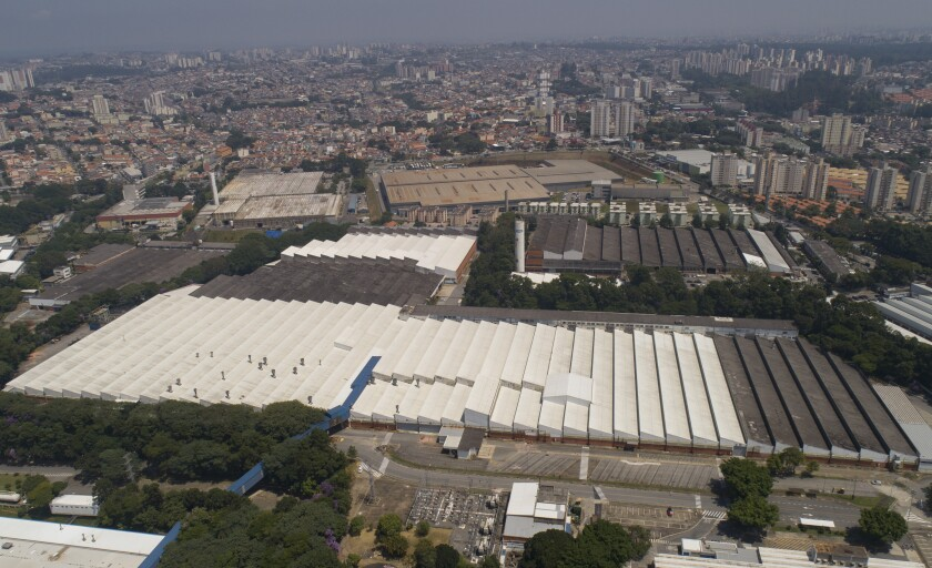 Aerial view of the Ford Motor Company's factory in Sao Bernardo do Campo, in the greater Sao Paulo area, Brazil, Thursday, March 12, 2020. Ford is ending local production of the sort of vehicles produced at plant and announced in September it would sell it to a distributor of Hyundai and Chery vehicles. (AP Photo/Andre Penner)
