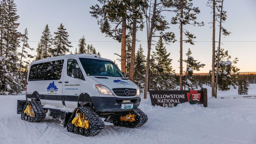Wildlife Expeditions takes visitors around Yellowstone in a customized snow coach.