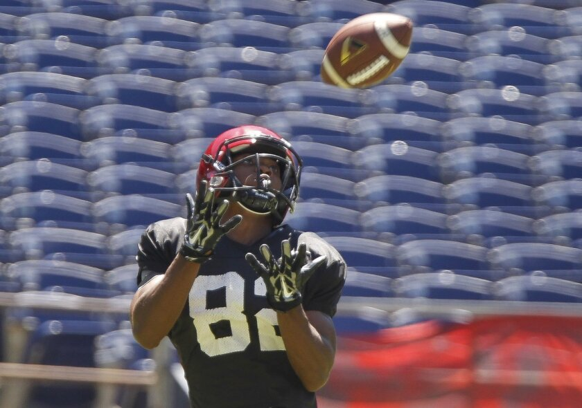 Aztecs sophomore wide receiver Lloyd Mills catches a pass that went for a touchdown in the Fan Fest scrimmage.