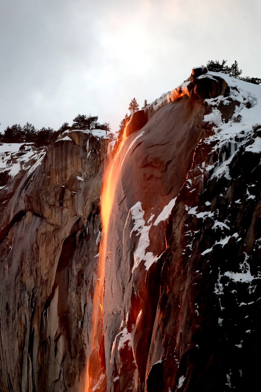 "Yosemite's ""firefall"" at Horsetail Fall in 2019"