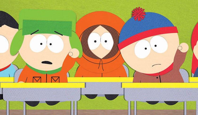 "Kyle Broflovski, left, Kenny McCormick and Stan Marsh on ""South Park."""