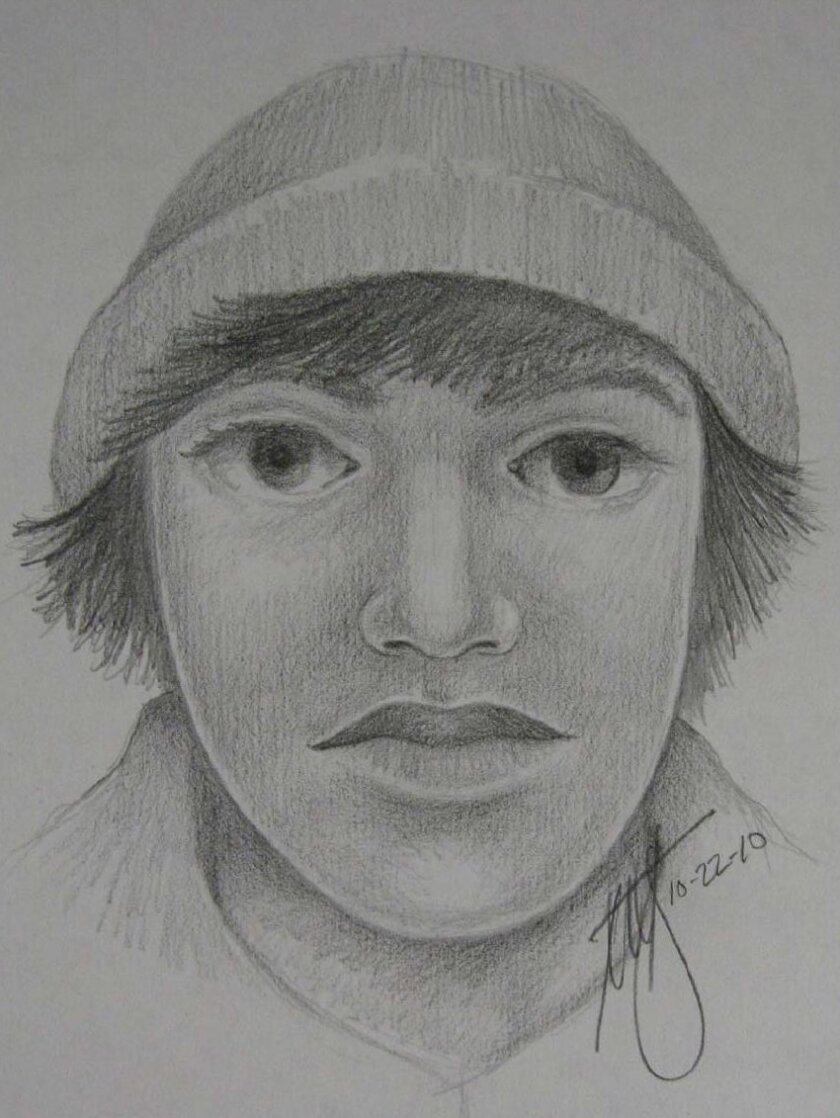 The sketch of the man sheriff's deputies say assaulted a woman in the elevator of her apartment complex in Solana Bech Oct. 20.