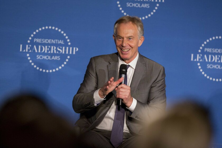 Former United Kingdom Prime Minister Tony Blair speaks during the Presidential Leadership Scholars graduation on Thursday, July 14, 2016 at Little Rock Central High School in Little Rock, Ark. (AP Photo/Gareth Patterson)