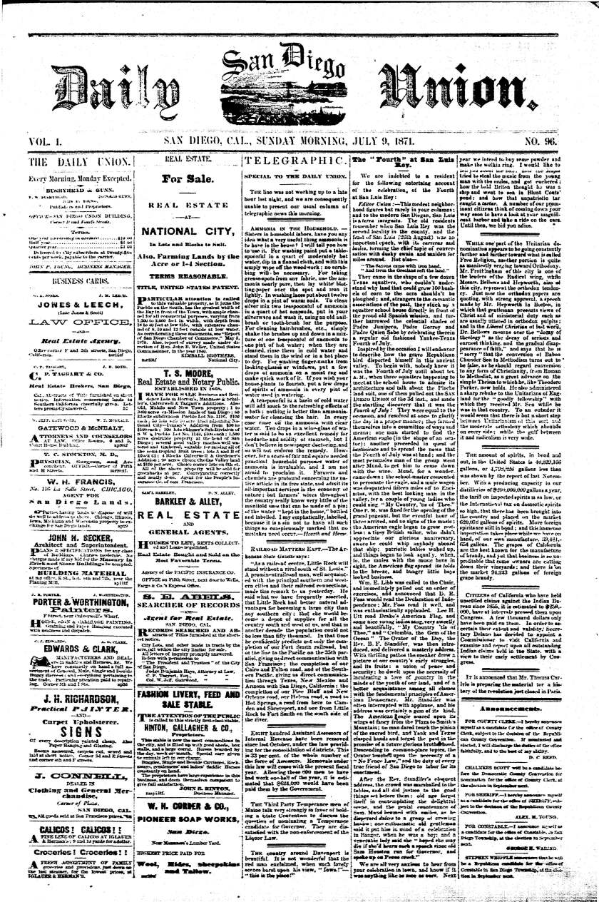 Front page of the Daily San Diego Union, July 9, 1871.