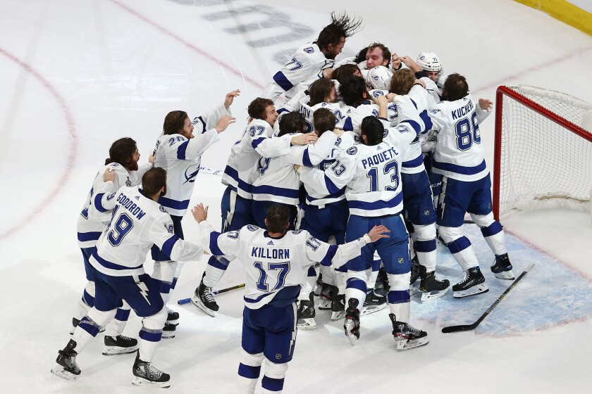 The Tampa Bay Lightning celebrate their series-clinching 2-0 win over the Dallas Stars in Game 6 of the Stanley Cup Final.