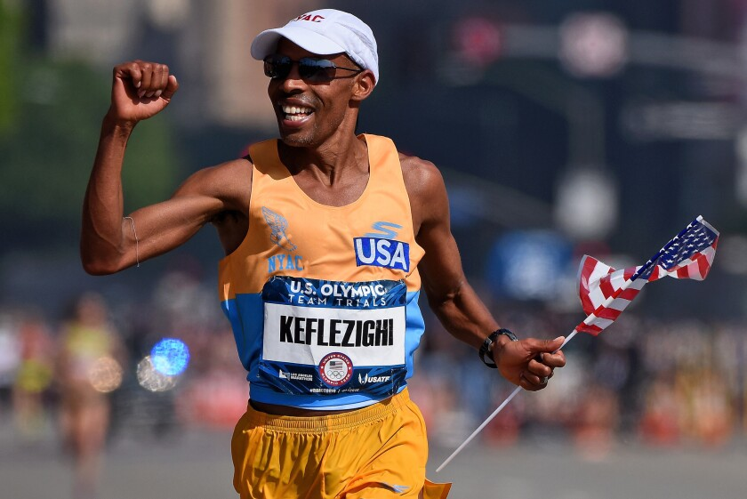 Meb Keflezighi competes in the trials for the U.S Olympic marathon team in 2016.