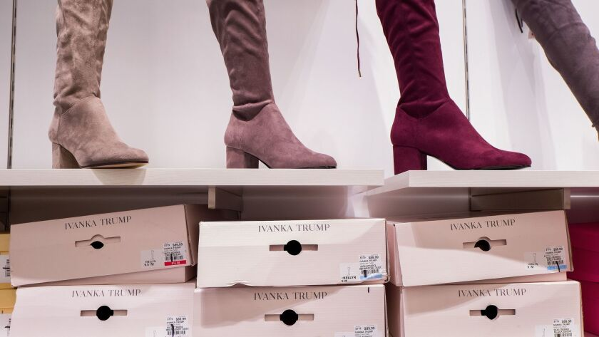 Ivanka Trump brand boots at a department store in New York.