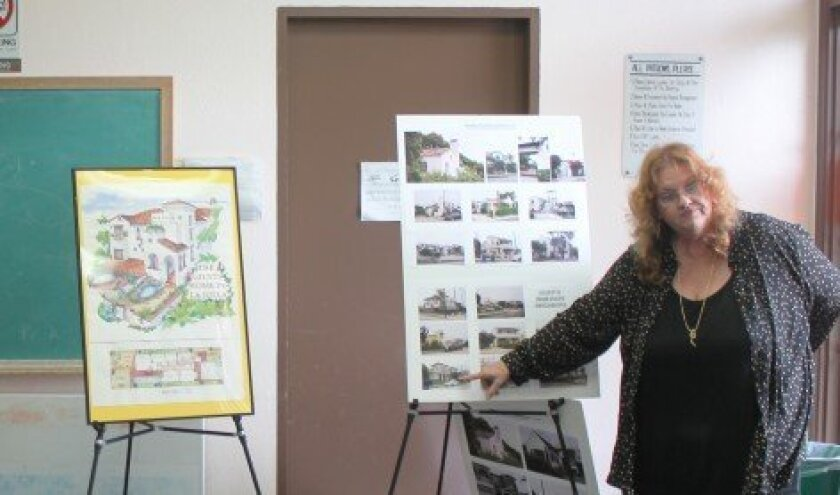 Architect Dena Gillespie presents plans for the Guisti residence to the Development Permit Review subcommittee on Oct. 15