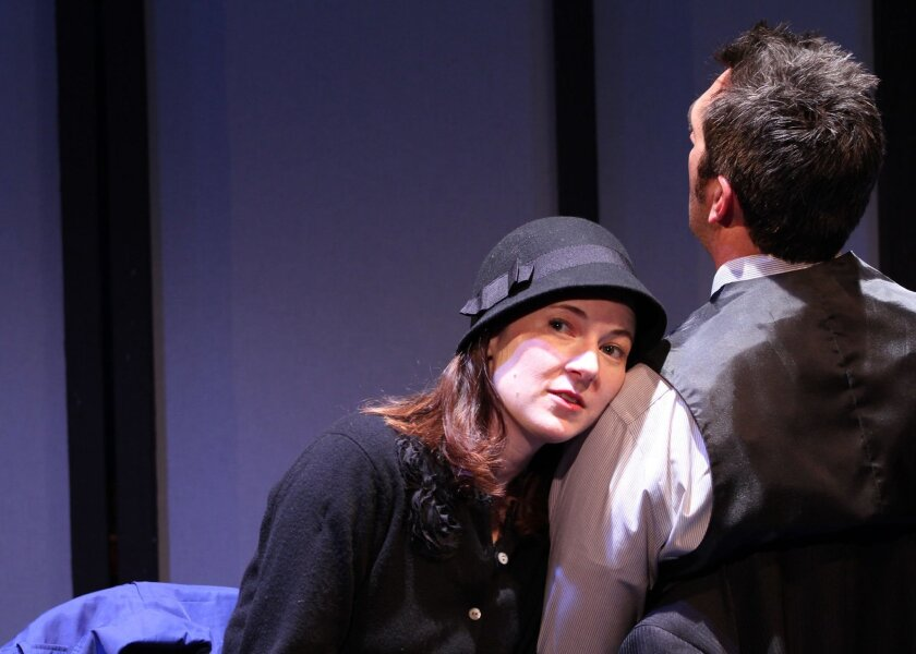 """Jo Anne Glover and Matt Thompson in """"Dead Man's Cell Phone"""" at Moxie Theatre."""