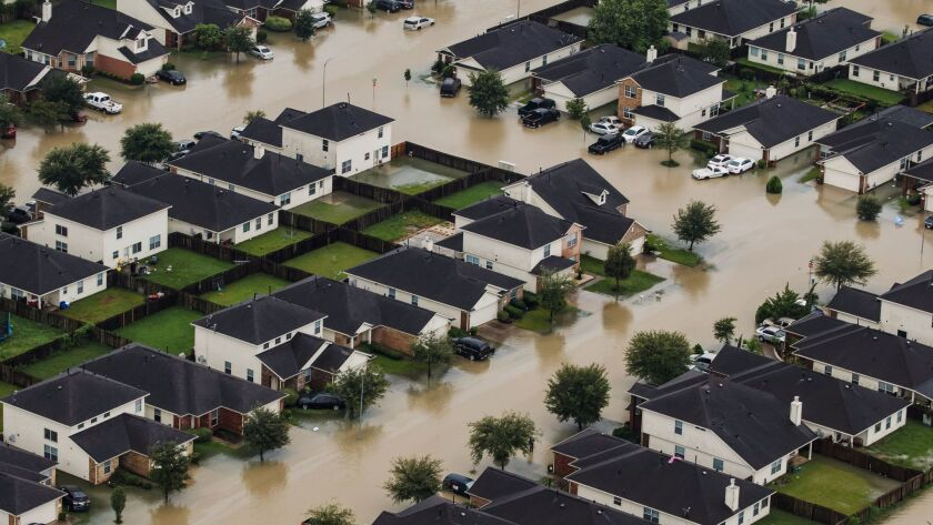 Residential neighborhoods near the Interstate 10 sit in floodwater in the wake of Hurricane Harvey i