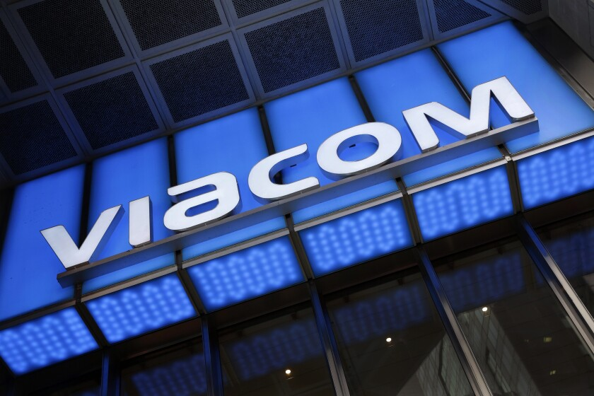 FILE - In this Wednesday, Dec. 2, 2015, file photo, the Viacom logo adorns the mass media company's headquarters, in New York. ViacomCBS's first-quarter net income beat expectations, Thursday, May 6, 2021, on strong streaming revenue during a quarter when the company streamed the Super Bowl and introduced its rebranded streaming service Paramount+. ViacomCBS rebranded its streaming service formerly called CBS All Access to Paramount+ in March. (AP Photo/Mark Lennihan, File)