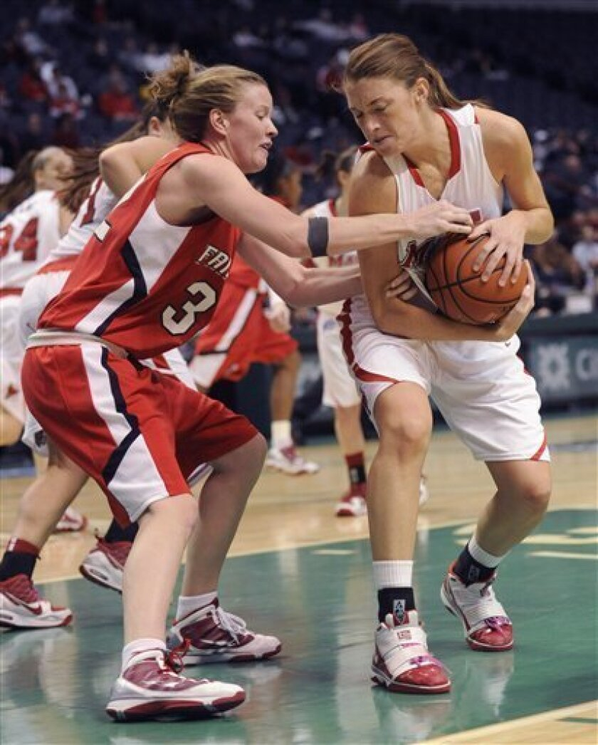 Fairfield's Stephanie Geehan, left, tries to steal a rebound from Marist's Rachele Fitz, right, during the championship game of the NCAA Metro Atlantic Athletic Conference women's college basketball tournament in Albany, N.Y., on Sunday, March 7, 2010. (AP Photo/Tim Roske)