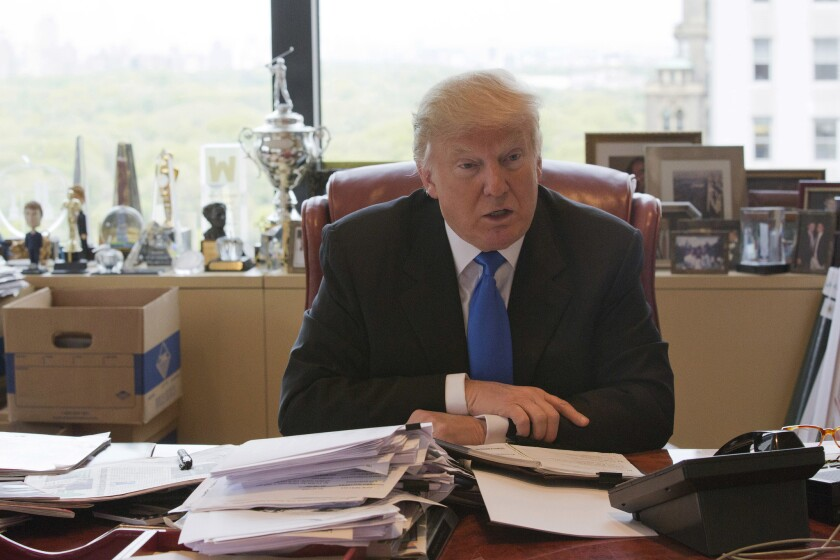 Donald Trump during a recent interview from his office at Trump Tower in New York.