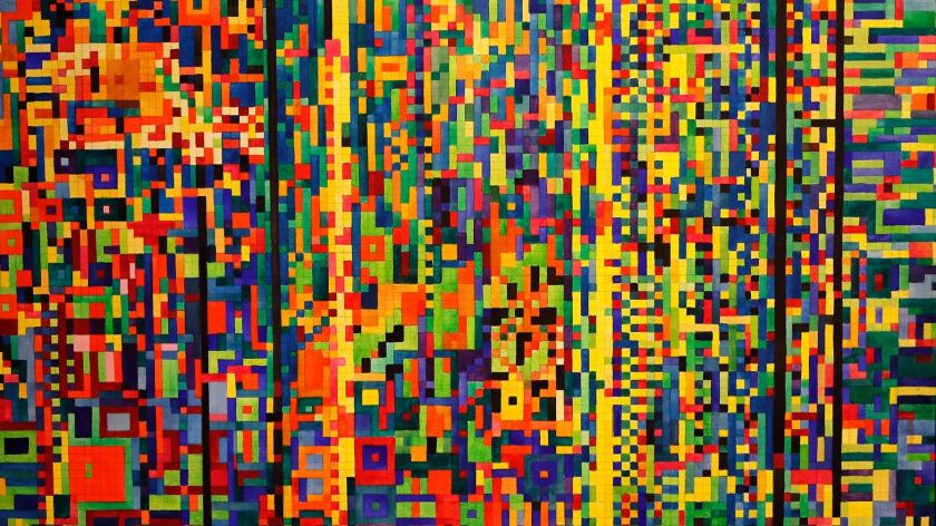 """Chip Fesko's """"Twenty Three and Me"""" watercolor based on the human genome, on display at the Newport B"""