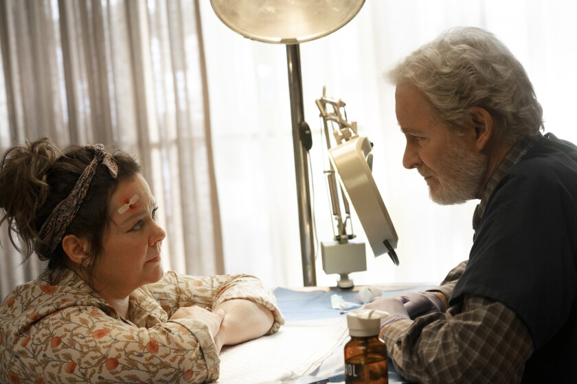 """A female patient consults with a doctor in the movie """"The Starling."""""""
