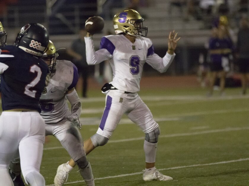 Santana quarterback Nathan Temple (shown in an earlier game) passed for 310 yards and three touchdowns against Mount Miguel.