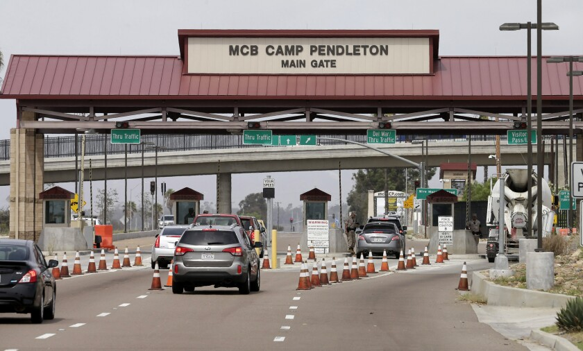 The main gate to Marine Corps Base Camp Pendleton near Oceanside in 2015.