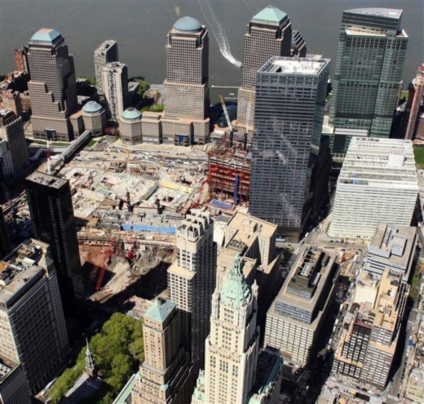 This aerial photo of April 20, 2010, shows the New York city block, lower right, where a 13-story mosque is planned for construction two blocks north of the World Trade Center site, center left. The plan for the $100 million mosque and cultural center received initial support on Wednesday, May  5,
