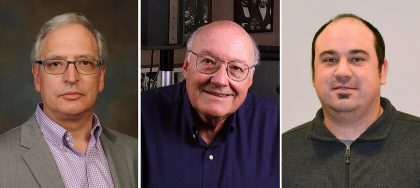From left, Hugh Rosen, Michael Oldstone and John Teijaro led the study on previously undiscovered effects of S1P1 agonists.