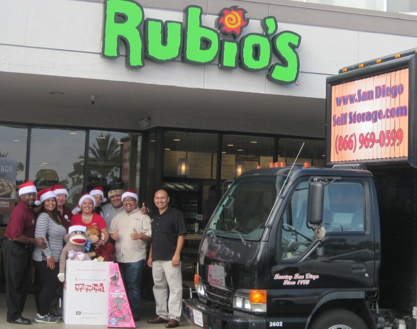 San Diego Self Storage partners with Rubio's for the 16th annual Toys for Tots campaign. Courtesy photo.