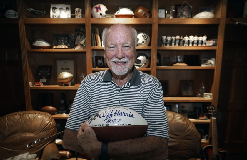 Former Dallas Cowboys and NFL football great Cliff Harris poses for a photo at his home in North Dallas, Wednesday, June 30, 2021. Harris and receiver Drew Pearson, who also will be inducted this year as part of the class of 2021, are the first undrafted Cowboys among their 15 players in the Hall of Fame.(AP Photo/LM Otero)