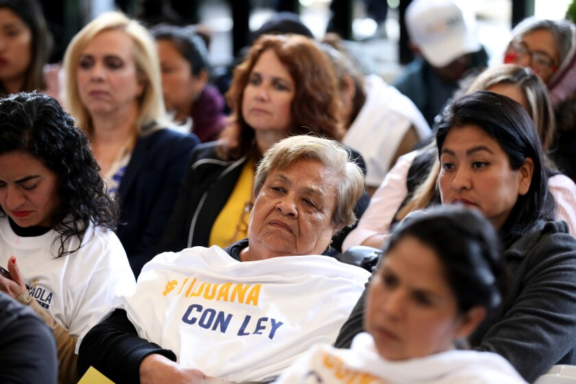 TIJUANA, BAJA CALIF. -- THURSDAY, MAY 16, 2019: Women attend a forum to listen to Juli‡n Leyzaola, P