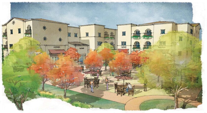 Mission Cove mixed-use/commercial space/family apartments. Rendering by the National Community Renaissance and Community Housing Works.