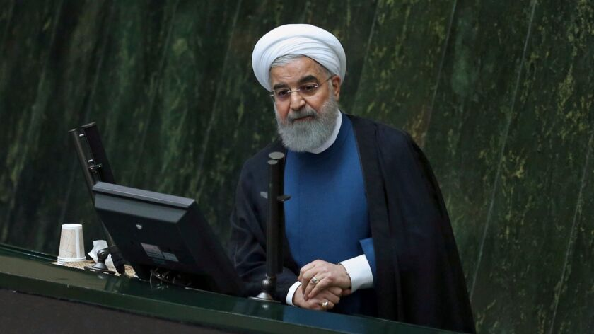 Iranian President Hassan Rouhani speaks to an open session of parliament in Tehran on Oct. 29, 2017.