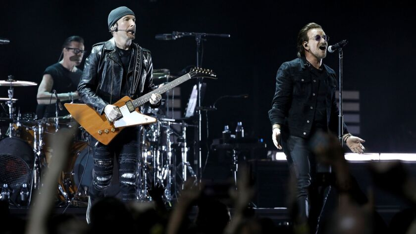 INGLEWOOD, CALIF. -- TUESDAY, MAY 15, 2018: Larry Mullen Jr., The Edge and Bono of the band U2 in co
