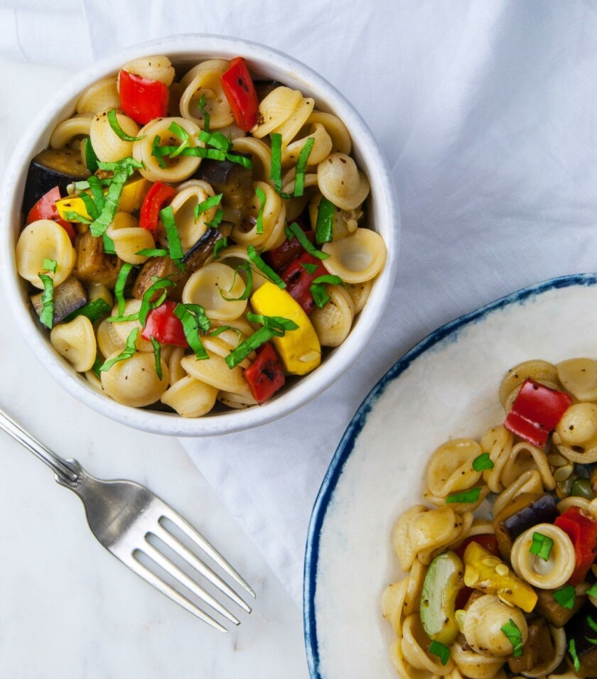 "Balsamic and Basil Pasta Salad from ""Fresh Italian Cooking for the New Generation."""