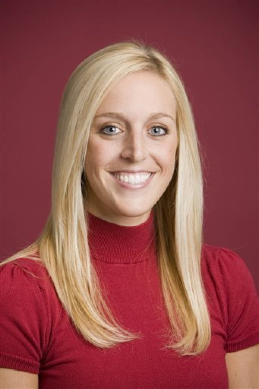 In this undated image released by the University of Arkansas, Razorback Foundation assistant director Jessica Dorrell is shown. Dorrell was a passenger of Arkansas football coach Bobby Petrino during a weekend motorcycle ride that ended with a crash that sent him to the hospital, according to a police report released Thursday, April 5, 2012. (AP Photo/University of Arkansas, Wesley Hitt)