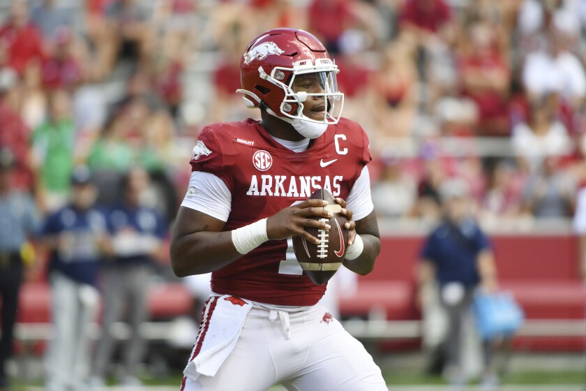 Arkansas quarterback KJ Jefferson (1) drops back to pass against Georgia Southern during the first half of an NCAA college football game Saturday, Sept. 18, 2021, in Fayetteville, Ark. (AP Photo/Michael Woods)