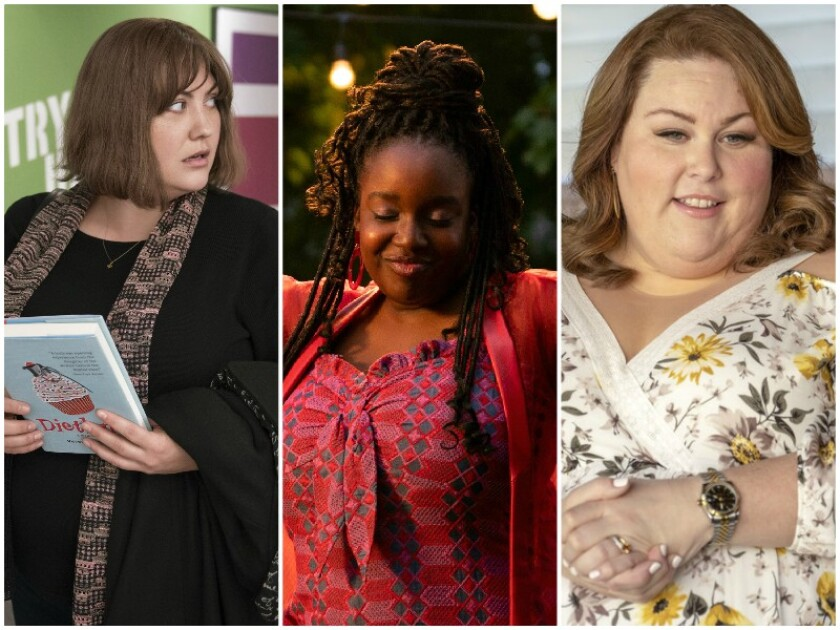 """From left: Joy Nash in """"Dietland,"""" Lolly Adefope in """"Shrill"""" and Chrissy Metz in """"This Is Us."""""""