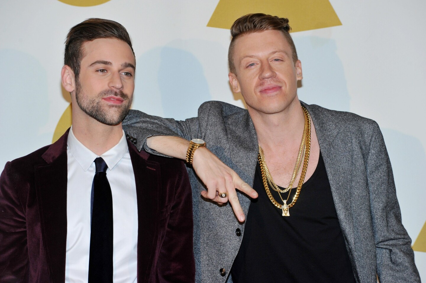 "Ryan Lewis, left, and Macklemore pose backstage at the ""Grammy Nominations Concert Live!"" on Friday at the Nokia Theatre at L.A. Live."