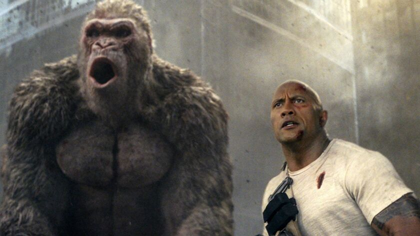 """Rampage,"" starring Dwayne Johnson, dominated China's box office last week."