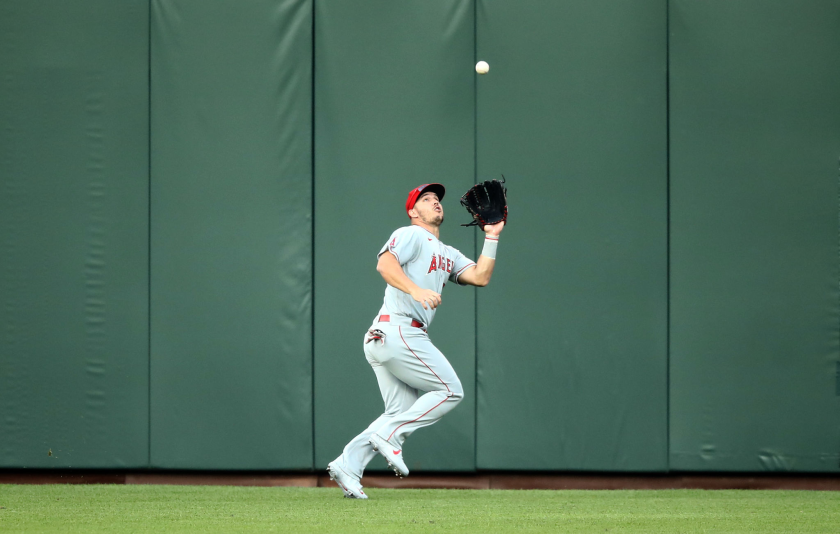 Angels center fielder Mike Trout catches a ball.