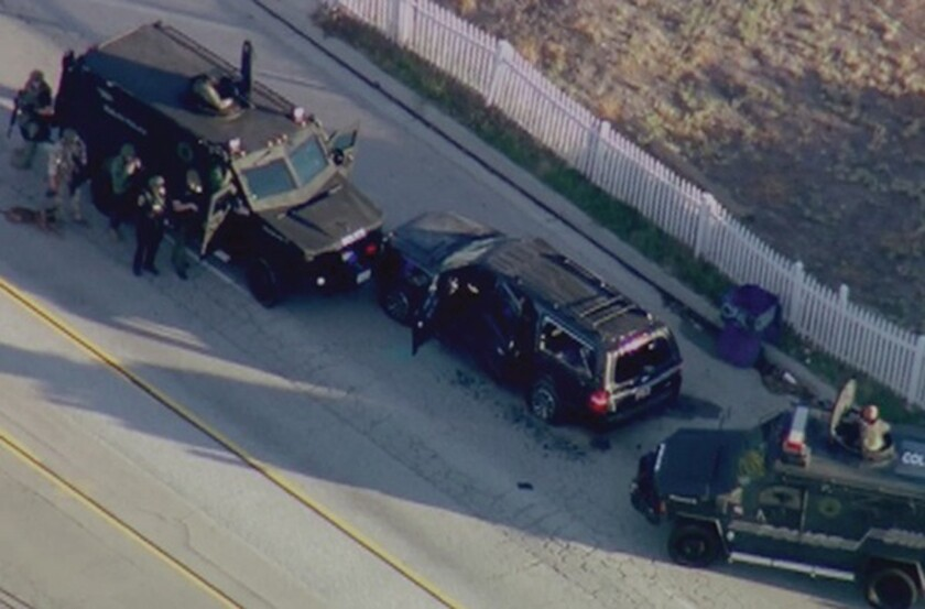 San Bernardino police used military surplus equipment when it pursued and killed the two shooters.