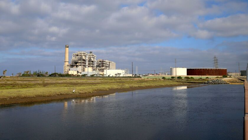 A view of the AES Huntington Beach Generating Station and the Magnolia Marsh Ecological Reserve.
