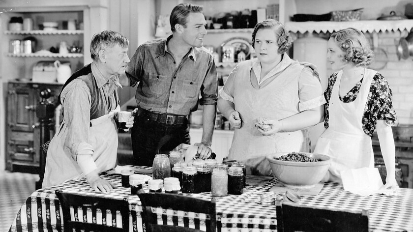 "Charley Grapewin, Randolph Scott, Kate Smith and Sally Blane in ""Hello, Everybody!"""