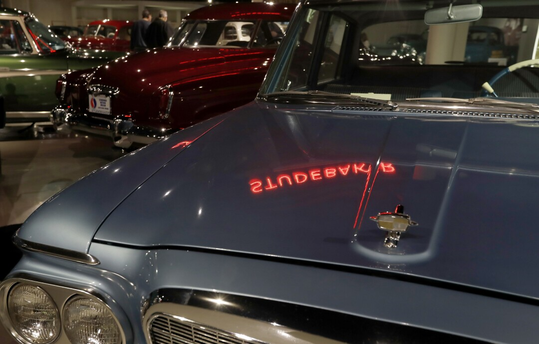 Vintage cars at the Studebaker National Museum in South Bend, Ind.