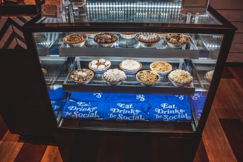 A refrigerated pie case offers take-home desserts at newly opened Pacific Social in Carmel Valley.