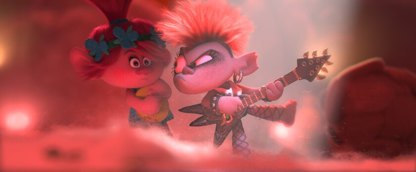 "Poppy (Anna Kendrick), left, and Barb (Rachel Bloom) in ""Trolls World Tour."""