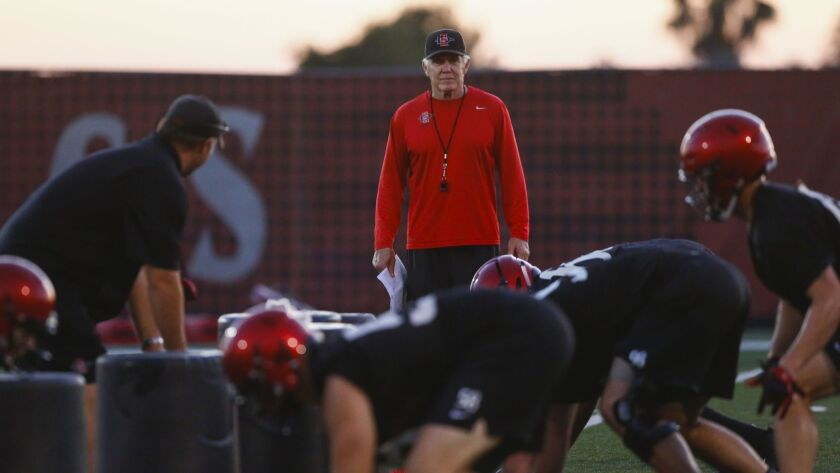 The San Diego State football team opens spring football practice on Monday at the SDSU practice field.