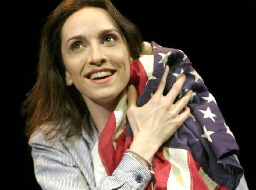 "Eliza Jane Schneider stars in Moxie Theatre's production of ""Freedom of Speech"" at the Diversionary Theatre in University Heights."""