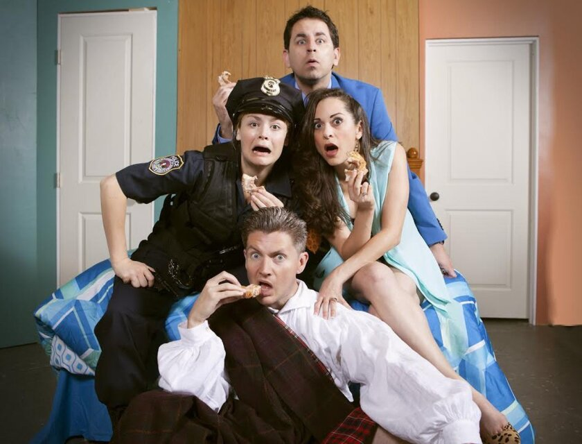 Christopher Williams (back), Jacque Wilke and Jessica John (center), and David McBean (front) in Paul Slade Smith's 'Unnecessary Farce' at the North Coast Repertory Theatre through May 10. Photo by Aaron Rumley